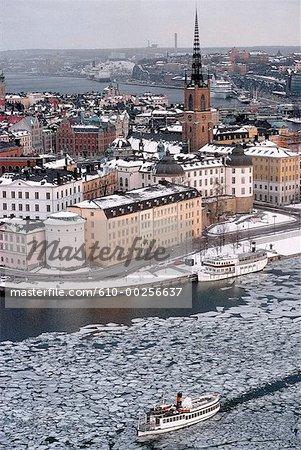 Suède, Stockholm, Riddarholmen, vue aérienne