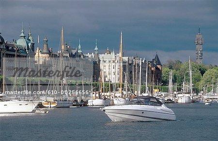 Sweden, Stockholm, Differents boats navigating