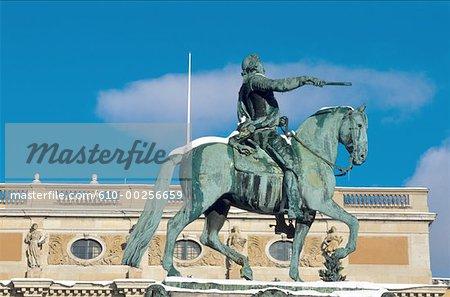 Sweden, Stockholm, Equestrian statue