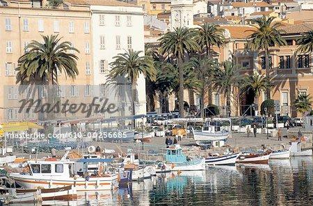 France, Corsica, Ajaccio, boats by the city