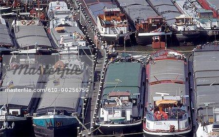 Les barges de pays-bas, Amsterdam,