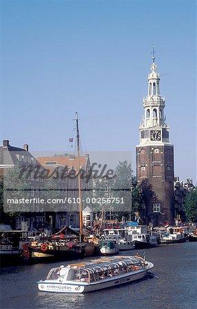 Pays-Bas, Amsterdam, barges et tour