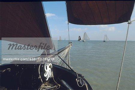 The Netherlands, Ijsselmeer, old ship boats