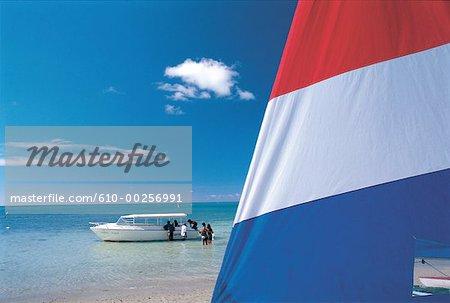 Mauritius, Trou-aux-biches, leisure boats