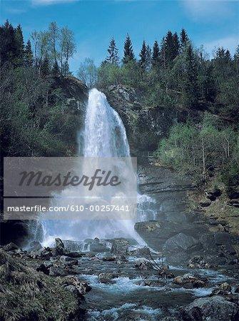 Norway, Hardanger fjorg, Kinsarvik, waterfall