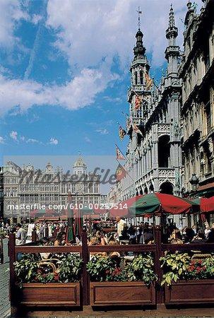 Belgium, Brussels, Grand Place, cafés