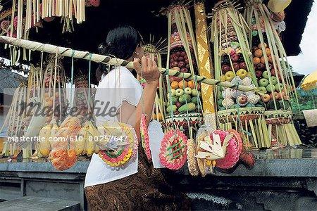 Indonesia, Bali, Offerings in Besakeh temple