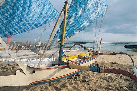 Indonesia, Bali, Outriggers on Nusa Dua beach