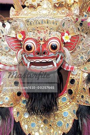 Tête classique Barong Bali, en Indonésie,