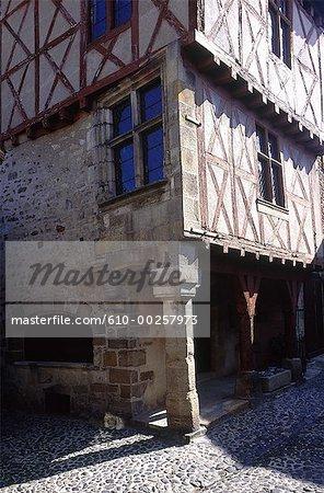 France, Auvergne, Billon, half-timbered house