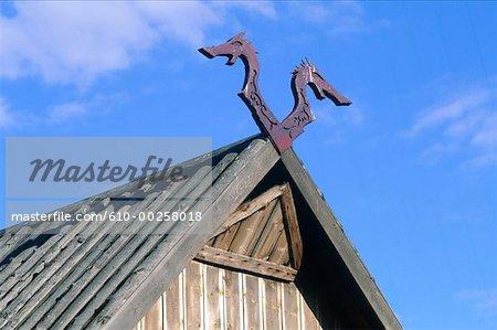 Sweden, Gotland, Tofta Strand, rebuilt Viking farm