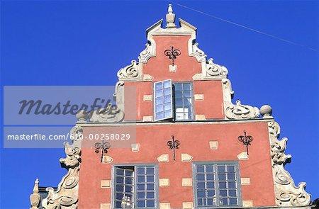 Suède, Stockholm, Gamla Stan (vieille ville), maison de pignon