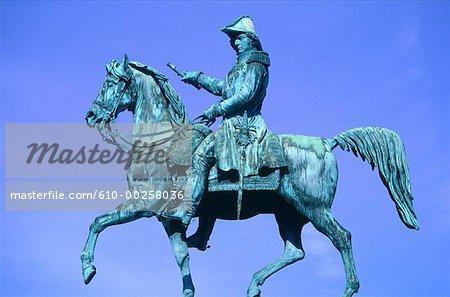 Sweden, Stockholm, equestrian statue of Bernadotte, King of Sweden
