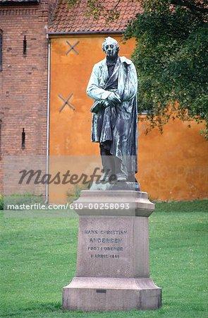 Denmark, Odense, statue of Andersen