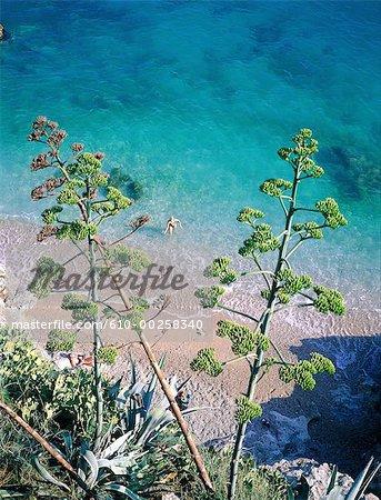 Vue aérienne de Croatie, Dubrovnik, sur la plage