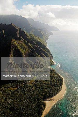 Shoreline and Mountain North Shore, Kauai Hawaii USA