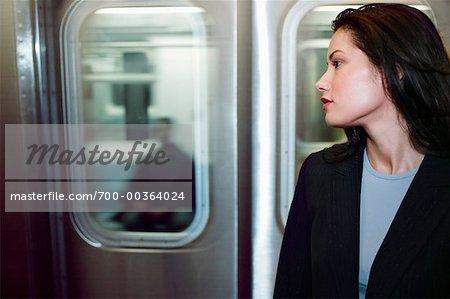 Woman by Subway Car New York City, New York USA