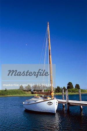 Sailboat at Dock Oak Bluffs, Martha's Vineyard, Massachusetts, USA