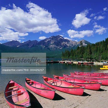 Canoes on Shore, Pyramid Lake, Jasper National Park, Canada, Alberta