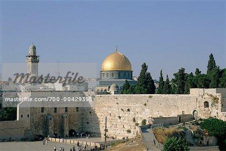 Le mur des lamentations et le dôme du rocher, Jérusalem, Israël