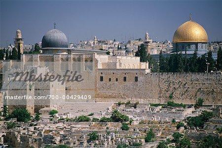 Mosquée Al-Aqsa et le dôme du rocher, au Mont du Temple, Jérusalem, Israël