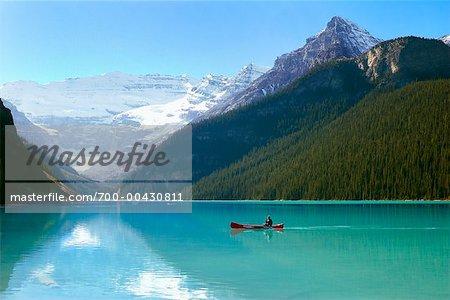 Canoe on Lake Louise, Banff National Park, Alberta, Canada