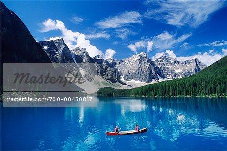 Canoers on Lake, Moraine Lake, Banff National Park, Alberta, Canada