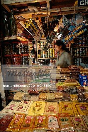 Person in Spice Store