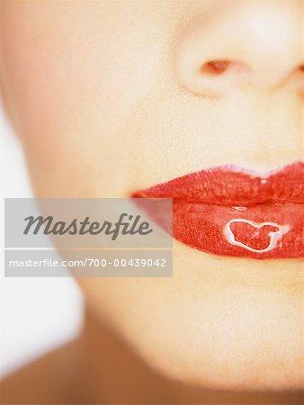 Nahaufnahme von Frau Mund, tragen Lipgloss