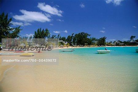 Bateaux sur la plage, Ile Maurice, l'océan Indien