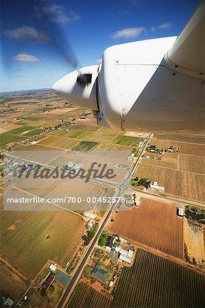 Airplane Wing over Farmland, Victoria, Australia