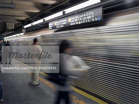 Blurred View of Subway, New York, New York, USA