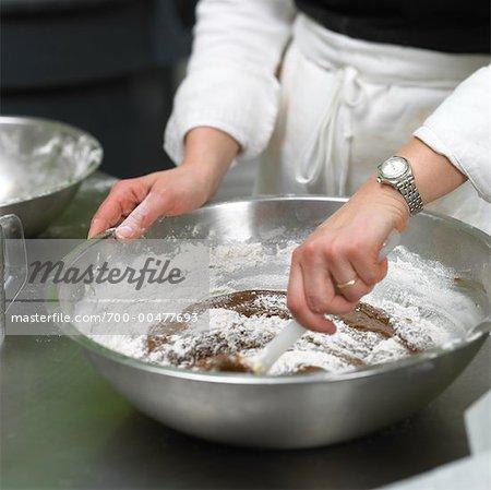 Baker Mixing Chocolate Cake Batter