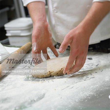 Baker Handling Dough