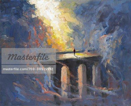 Figure debout sur un pont