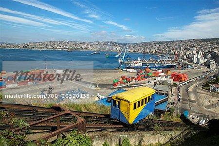 Funiculaire et Harbor, Valparaiso, Chili