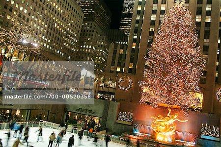 Skating Rink and Christmas Tree At Rockefeller Center, New York City, New York, USA
