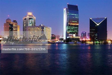 Dubai Skyline at Dusk, Dubai, United Arab Emirates