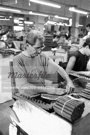 Mann arbeitet in Zigarrenfabrik