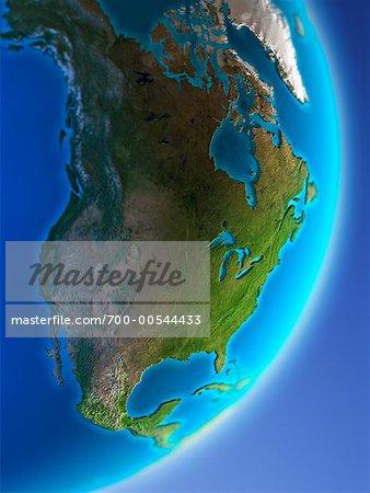 Globe montrant l'Amérique du Nord