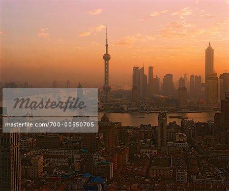 Vue d'ensemble de la ville, Shanghai, Chine