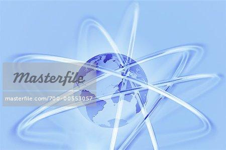 Globe terrestre avec les lignes de connexion