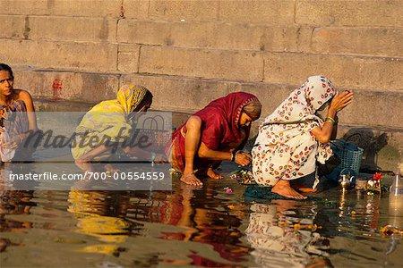 Pilgrims By the Ganges River, Varanasi, Uttar Pradesh, India
