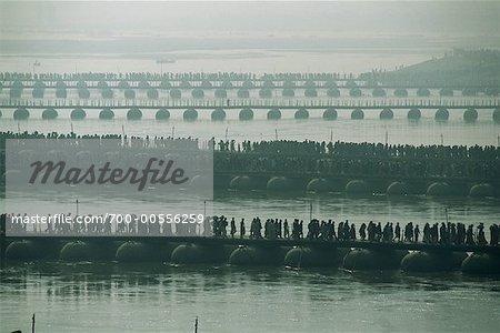Procession of People On Bridge, Allahabad, Uttar Pradesh, India