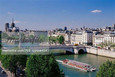 View of La Seine and Notre Dame, Paris, France