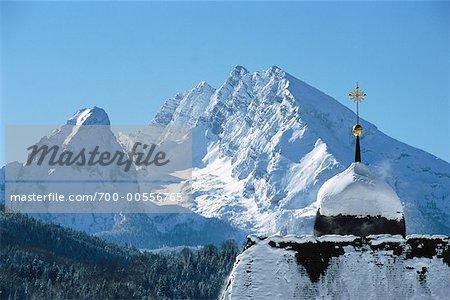 Church and Watzmann Mountain, Berchtesgadener Land, Bavaria, Germany