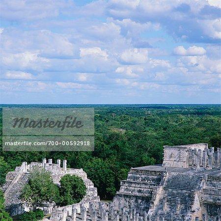 Tempel der Krieger, Chichen-Itza, Yucatan, Mexiko