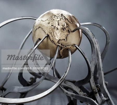 Calipers Gripping Steel Globe