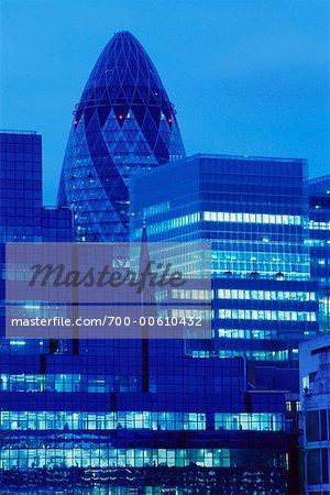 City Skyline With The Gherkin Building, London, England