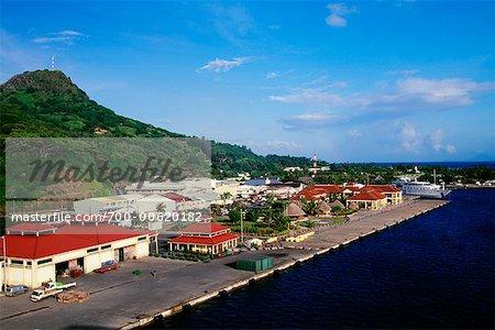 Overview of Harbor and Town, Gare Maritime, Uturoa, Raiatea